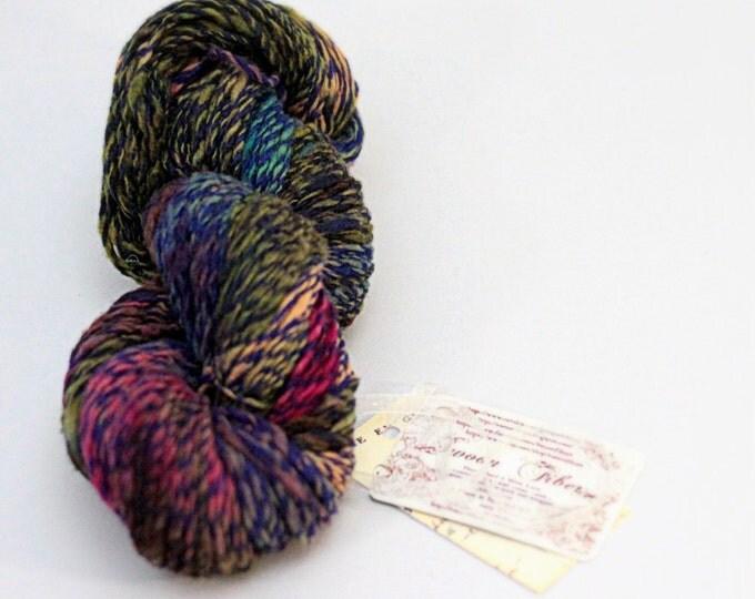 hand dyed yarn Cashmere handspun Mistletoe worsted 2 ply knitting yarn Mallory