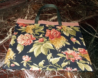 FLOWERED REUSABLE  BAG New Gorgeous Fabric Grocery, Farmers Market..w/long poly straps and black background/affordable Eco-Friendly Gift