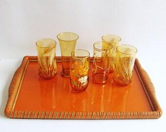 1960s Glass Topped Cane Tray, Orange Tray, Cocktail Tray, Decorative Tray, Woven Rattan, Display Tray, Deep Orange,