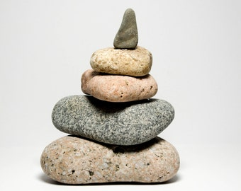 Rock Cairn Maine Beach Stones Zen Spiritual Inspirational Triangle Granite