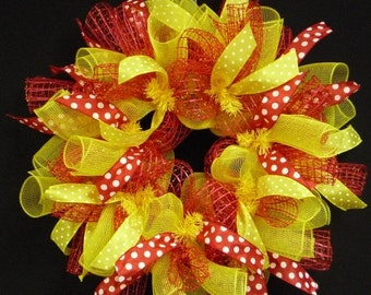 ON SALE Spring to Summer Wreaths, Red Yellow, Wreaths for Doors, Poly Mesh Wreaths (1056)