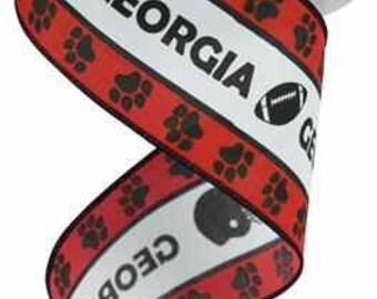 2.5 Inch White Red Black Georgia Football Helmet Wired Ribbon RG1774, College Ribbon, Deco Mesh Supplies