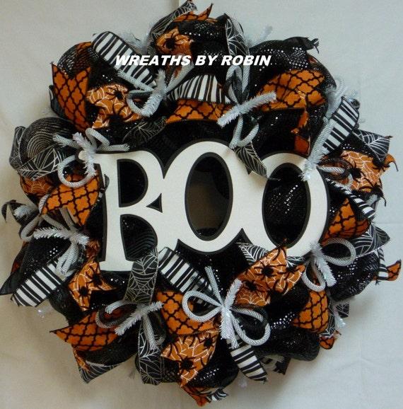 Black Flower And Crow Halloween Wreath: BOO Halloween Wreath Black White Orange 2137