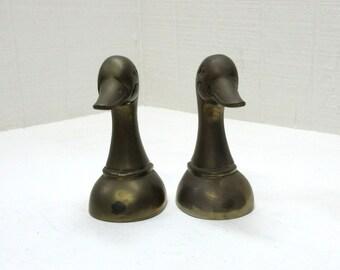 Vintage Brass Duck Head Bookends Himark Giftware Brass Duck Bookends