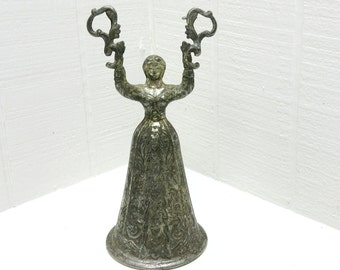 Vintage Silver Tone Metal Lady Pewter Bell Shaped Woman