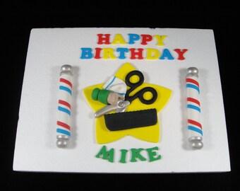 Fondant Barber Themed Sheet Cake Topper, Mens Birthdays, Edible Barber Pols, Edible Barber Topper, Edible Cake Topper, Sheet Cake Topper