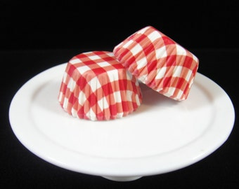 Red Gingham Mini Cupcake Liners, Mini Baking Cups, Mini Muffin Papers, Mini Candy Paper, Cake Pop Papers, Truffle Cases  - QTY. 25