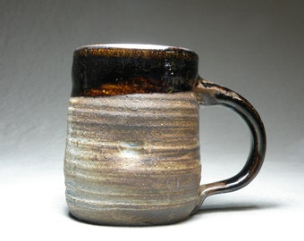 Coffee cup.  Rustic mug. Wheel thrown cup.  Large mug. 10oz cup. Soda fired mug