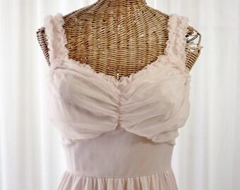 Vintage 1950's Lingerie Nightgown Gotham Blush Pink Peach Unworn Size 36