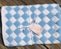 Light blue and white checkered crocheted baby blanket or lap throw, entrelac crochet blanket