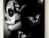 5x7 in Stretched Canvas Print - Flutter By - Dia De Los Muertos Tattoo Flash Day of the Dead Sugar Skull Girl
