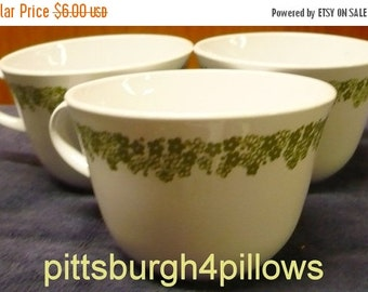Save 10% 3 - Corelle - Spring Blossom AKA Crazy Daisy - Living Ware - Coffee Cups - Price Is For All - EUC