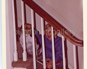 Vintage Photo, Toothy Grin, Cute Blonde Boy in Bright Blue Shirt & Pet Beagle on Stairs, Color Photo, Found Photo, Snapshot, Family Photo