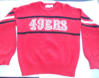 Vintage 1980's Cliff Engle San Francisco 49ers Forty Niners Sweater size medium NFL Football