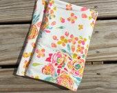 """White Floral (Swifting Floral in Fond) Jersey Knit PREMIUM SWADDLE BLANKET- 45""""x45""""- Art Gallery Fabrics- Fleet & Flourish- pink, gold, teal"""