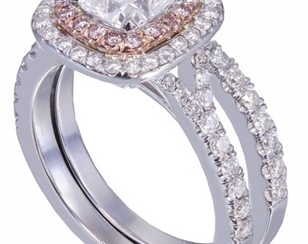 GIA I-VS2 14K White Gold Cushion Cut Diamond Engagement Ring And Band 1.90ct