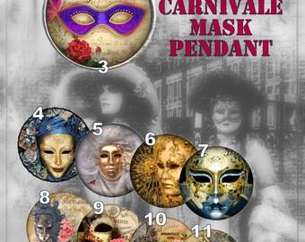 Mask Pendant, Mardi Gras Mask, Mask Jewelry, Venetian Masks, Mask Necklace, Gift for her, Venetian Art Pendant, Custom Pendant
