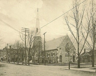 Grace Methodist Church GANANOQUE Ontario Antique Private Postcard 1907