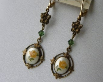 SALE, Vintage Yellow Rose Cameo Earrings, Choice of TWO