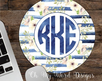 Monogram Mouse Pad-Monogram Mouse Pad-Desk Accessories-Watercolor Flowers-Round Mouse Pad-Water Color Stripes