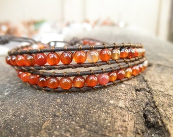 Double Red Agate and Leather Wrap Bracelet