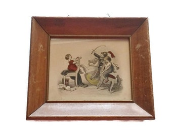 Antique Lithograph Framed Children Playing