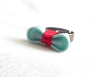 Unique Bow Ring Aqua Satin and Red Ribbon Adjustable Statement Jewelry