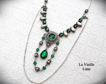 Etruscan Style Emerald Victorian Necklace, Emerald Rhinestone Necklace, Victorian Jewelry