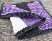 Crochet Doll Blanket Lavender/Charcoal/White 18 x 12