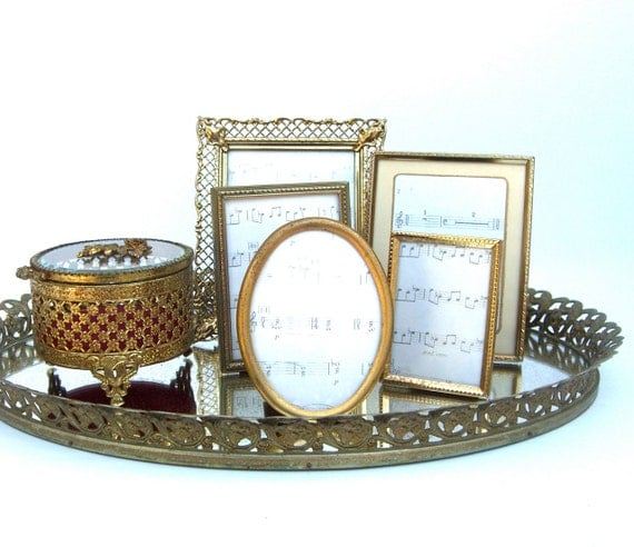 Vintage Gold Vanity Mirror Tray Hollywood Regency Boudoir
