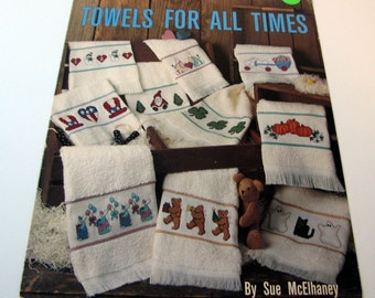 Leisure Arts Leaflet called Towels For All Times by Sue McElhaney from 1989 to Cross Stitch