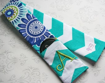Camera Strap Cover with Lens Cap Pocket and Monogram, Personalized, Embroidery, Padded, Photographer Gift - Aqua Flowers with Teal Chevron