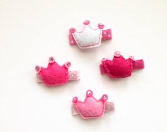 Princess Crown Set Felt  hair clip / girl hair clip / barrette / puffy felt crown / felt crown /