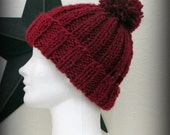 hat - knit hat - hand knit hat - red hat - red knit hat - red hand knit hat - pom pom knit hat - red pom pom hat - red acrylic knit hat