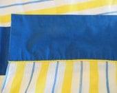 "Flat Flat Sheet-Striped Extra long 105"" x 81"" Blue, yellow and white stiped cotton sheet"
