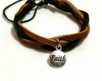 Faith Bracelet Inspirational Jewelry Christian Gifts Leather Bracelet Mens Jewelry Women Teens Sale Trending Now