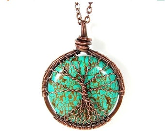 20% OFF Sale Spindly Roots and Branches Round Turquoise Tree of Life Necklace in Antique Copper.