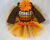 """SALE Babys First Thanksgiving Outfit """" Gobble Gobble Gobble """" - Girls Tutu Bodysuit and Headband Set - TG1302"""