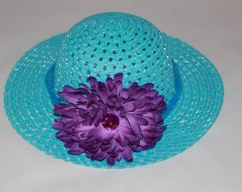 Tea Party Hat - Turquoise Easter Bonnet with Blue Ribbon - Girls Sun Hat - Easter Hat -  Birthday Hat - Sunday Dress Hat - Derby Hat  1655