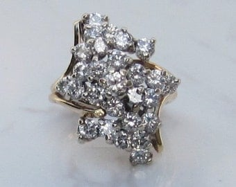 Vintage Huge Diamond Cluster Ring, 2.35 Carats Total Diamond Weight, Set in 14k Yellow Gold, Size 4.5