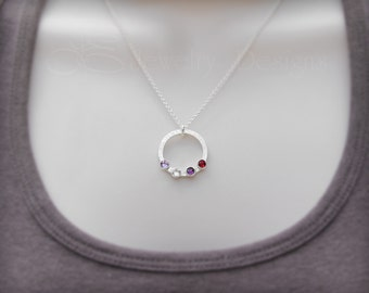 MOTHERS BIRTHSTONE NECKLACE - family necklace, grandmothers pendant, birthstone pendant, circle necklace