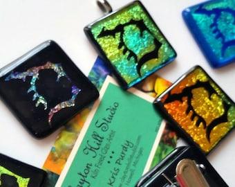 Michigan Pendant or Badge Reel - dichroic glass