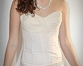 Vintage Pale Blush Embroidered Cotton Strapless Bullet Bra Corset Wear Rite 38 B