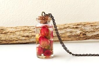 Rose Bottle Necklace, Red Rose Resin Pendant, Bottle Jewellery, Rose Jewellery, Flower Jewelry, Resin Jewelry, Terranium Jewellery, UK, 2239