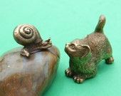 2 Vintage Bronze Miniatures, Cat and Snail by Nikita Fedosov, Art Bronze Figurines, Collectible Animal Miniatures RESERVED