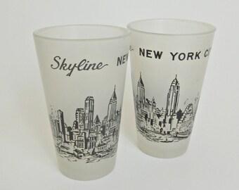 Vintage 1950s New York City Skyline Souvenir Shot Glasses, Set of 2