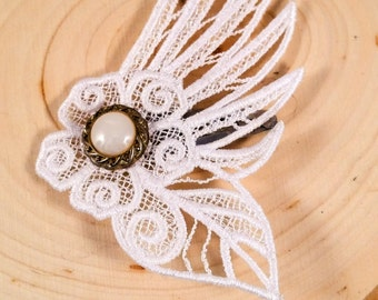 White lace wing and flower hair clip barrette