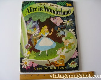 Large Walt Disney's ALICE IN WONDERLAND Hardcover  1950's Vintage Big Golden Book