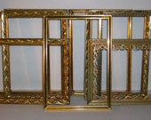 """14 Vintage Gold 5"""" X 7"""" and Smaller Metal Picture Frames Shabby Chic Wedding Decor"""