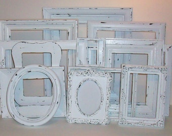 Set of 13 Shabby Chic Chippy White Picture Frames for Gallery Wall, Wedding Decor, Nursery Decor